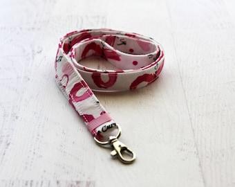 Breast cancer awareness lanyard - pink lanyard - nurses lanyard -  lanyard - key holder lanyard - doctors lanyard - pink ribbon lanyard