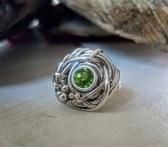 Natural Green Faceted Peridot Statement Ring In Argentium Silver Size 7  ER-0009