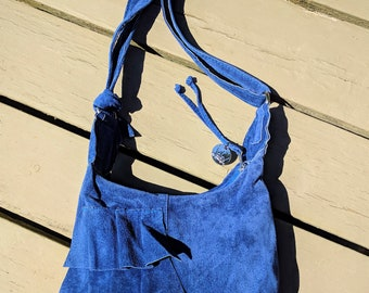 Sarah - a Blue Suede Leather Messenger Bag with Ruffles, Zipper and Adjustable Strap