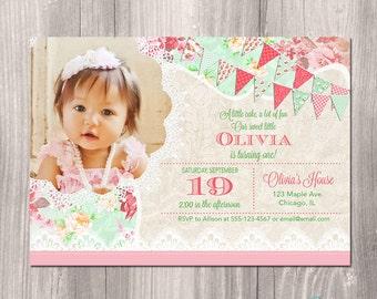1st Birthday Invitation, Girl Birthday Invitation, First Birthday Invite, Shabby Chic, Garden birthday, Printable Invitation, digital invite