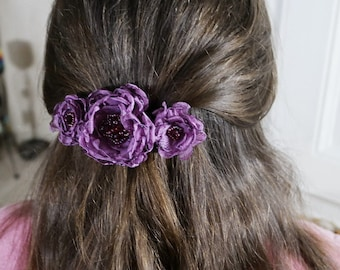purple hair barrette hair clasp floral barrette wedding hair barrette hair accessories fabric hair barrette hair clip hair flower hair slide