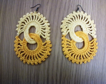 Two tone yellow interlock crochet earrings