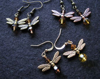 Firefly earrings |  swarovski bicone | crystal earrings | dangle | insect earrings | wings | topaz | nature inspired