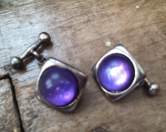 Vintage cuff links, purple jewellery, purple cuff links, shirt studs,60s cuff links,dad gift, husband gift, vintage grooming, male jewellery