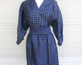 Vintage Thai Silk Shirt Waist Dress . Navy Blue Print Hand Woven Silk . by The Mysterious Orient