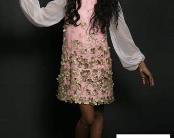 A-Line Dress - Shift Dress - Couture Dress - 3d Lace Dress - Pink Dress