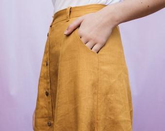 Juniper Godet Skirt in Mustard, yellow linen panel skirt with pockets, vintage style midi skirt, high waisted maxi skirt, button down skirt