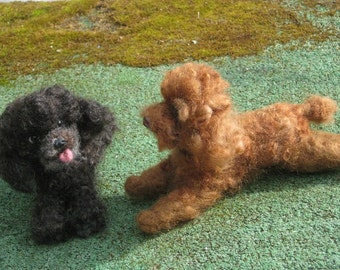 Your Pet in Miniature / Needle Felted Dog / Portrait  Sculpture by Fiber Artist GERRY / Poseable / example Poodle