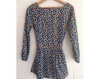 Vintage 60s navy blue floral print peplum blouse - 60s mod - swinging 60s - ditsy daisy print groovy flower power print