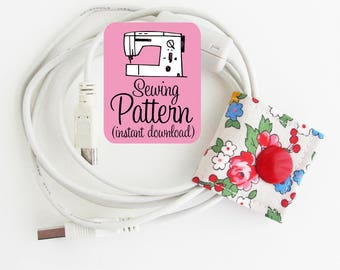 Cord Keepers PDF Sewing Pattern | Make fabric cord organizers earbud cord keepers with this simple sewing pattern.