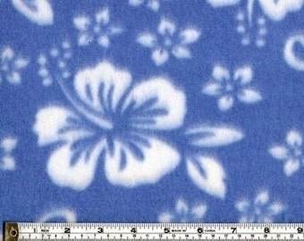 Hibiscus Pattern Polar Fleece Fabric (Blue) Sold by the Yard.