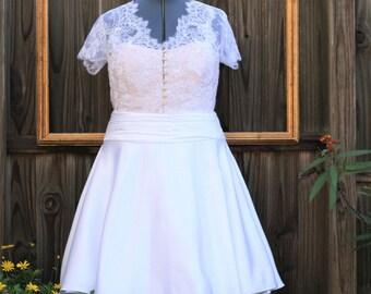 short wedding dress in white. retro 1950s inspired dress - KATE style - regular and plus size