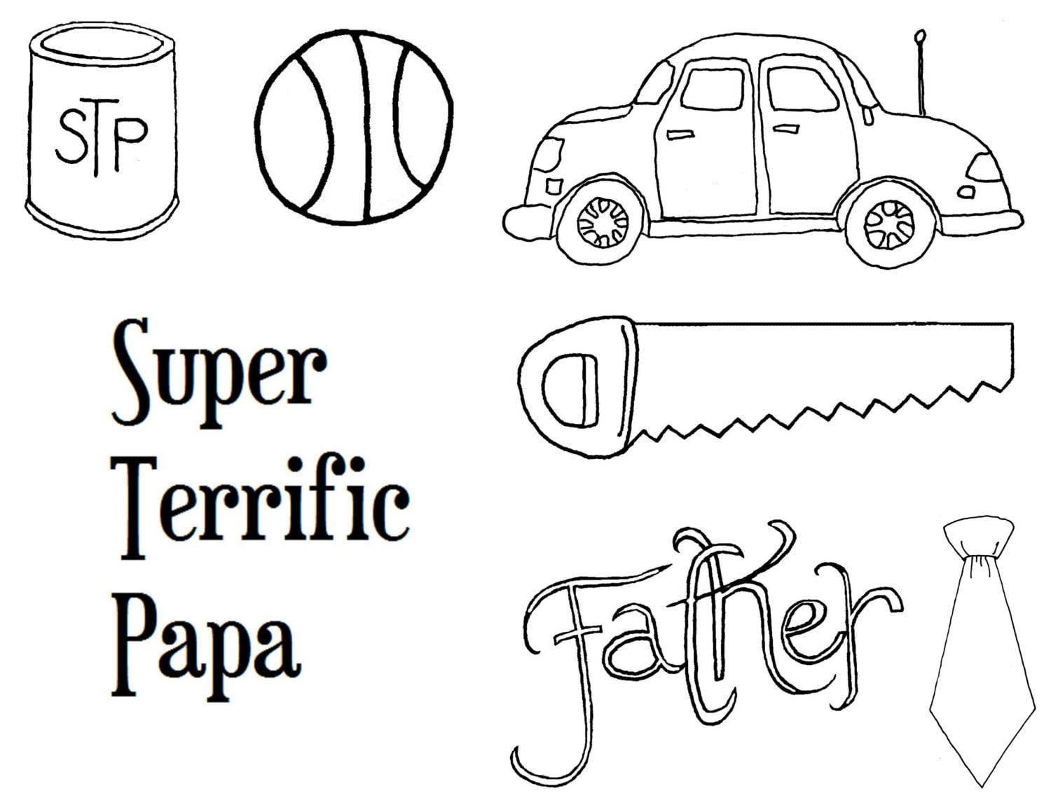 Father's day coloring page, card images, black and white