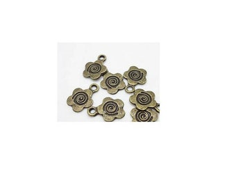 set of 10 charms bronze spiral flower (R43)