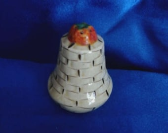 Salt Pot Weaved Basket Pattern with a Tomatoe on Top