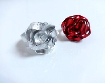 Handmade ring - aluminum - rose pattern
