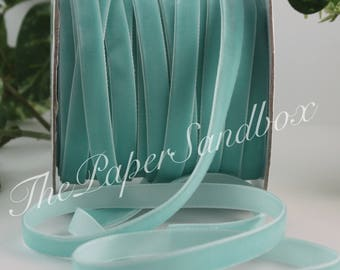"""Robin Egg Blue Velvet Ribbon, 3/8"""" wide by the yard, French Blue Velvet"""
