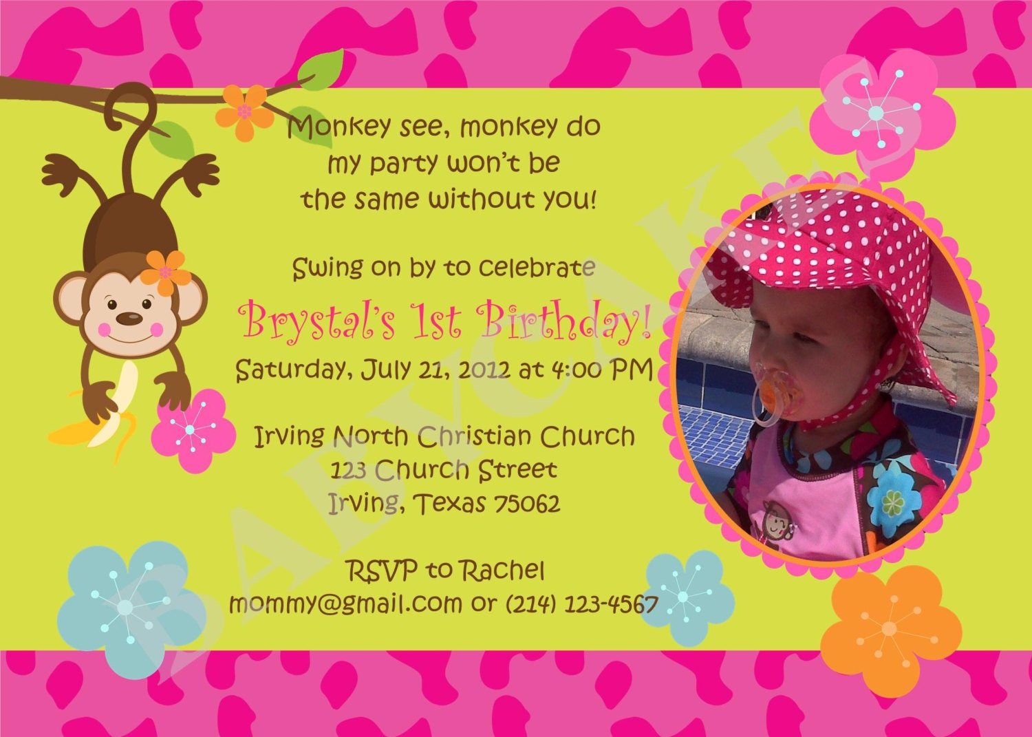 Monkey Pool Party Birthday Invitation Monkey Love Monkey Luau