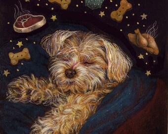 Dog Dreams Print, Christmas Print, Dog Portrait, Dog Art, Sugar Plums, White Dog, Maltese, Anthropomorphic, Dog Lover Gift, Dog Owner Gift