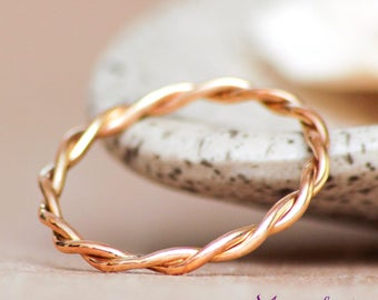 Gold Thumb Ring, Narrow Band, Infinity Wedding Ring, Twist Band Ring, 14 K Yellow Gold Wedding Band, Thin Stacking Ring, Simple Wedding Ring