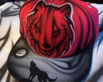 Airbrushed Wolf Snapback Hat Hand Painted airbrush