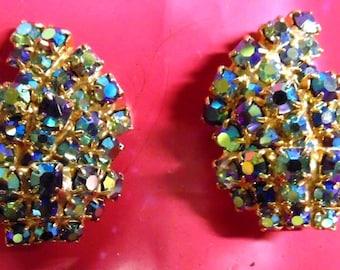 "Vintage Iridescent Rhinestone Earrings, Clip, 1 1/4"" long"