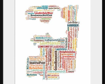 Ft Lauderdale  Map Typography Map Poster Print Color
