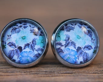 Blue Earrings, Floral Earrings, Blue Studs, Post Earrings, Glass Dome Earrings, Gifts for Her, Everyday Jewellery, Simple Earrings