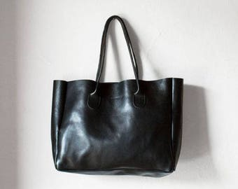 Black Leather Shopper, Black Leather Tote, Black Leather Bag, Leather Bag, Leather Handbag, Black Tote, Vegetable Tanned Leather Bag