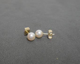 Boucles d'oreilles perles de culture d'eau douce diamètre 5.5/6 mm or jaune 750/1000