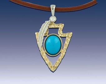 Arrowhead Pendant Necklace - Turquoise - 14K TT gold Diamonds and Turquoise