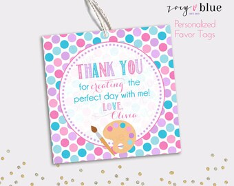 Art Party Favor Tag - Painting Birthday Thank You Tags - Pink Purple Blue Party Favors - Baby Shower Gift Tags - Personalized Digital File