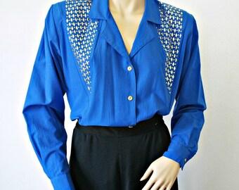 1980's Royal Blue Blouse Studded Gold Diamond Long Sleeve Blouse Women's Shirt Blue Vintage Top Size X Small