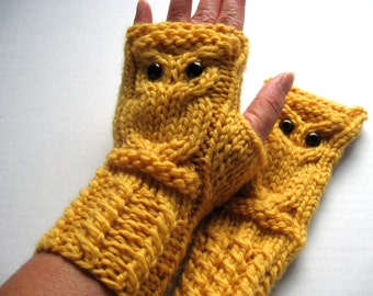 Owl Fingerless Gloves Mittens - Merino Wool Chunky - Daffodil (Yellow) READY TO SHIP