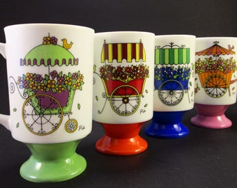 Mod 1970s Porcelain Footed Mugs, Set of 4 Flower Carts, Designed by PIA