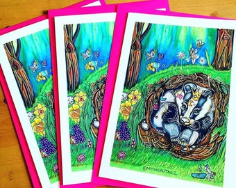 Badger Burrow A5 greeting card Enchanted forest nature wildlife fantasy fairytale art illustration whimsical fairies mythical flowers spring