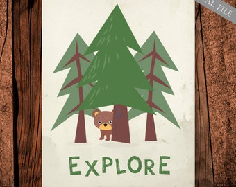 Explore wall art print - Printable kids wall decor - Nursery wall art explore the world forest trees - 8x10 and 16x20 - INSTANT DOWNLOAD!