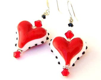 Red heart earrings, Valentine's Day gift for her, red lampwork heart, Swarovski crystal elements, birthday gift