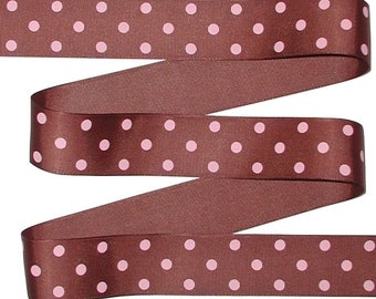 Brown Polka Dot Grosgrain Ribbon, Pink Polka Dots On Brown Grosgrain Ribbon, Pink Brown Polka Dot Grosgrain Ribbon, cbonefive
