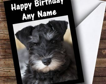 Schnauzer Dog Personalised Birthday Card