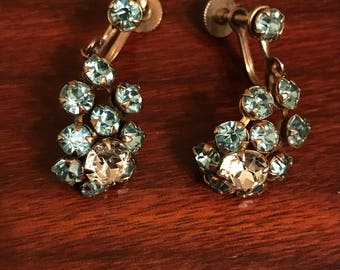 Sky blue vintage rhinestone drop earrings