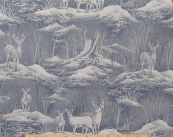 Deer Fabric Snowy Scenic Fabric From 100% Cotton