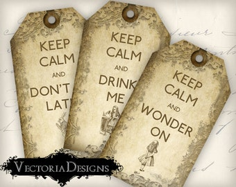 Alice in Wonderland Keep Calm tags instant download printable gift tags digital Collage Sheet VD0349