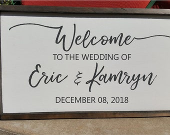Welcome to the Wedding of His & Hers Names Vinyl Lettering Decal Wedding Sign Rustic Barn Wedding Decor DIY Lettering for Sign Personalized