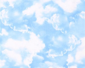 186641 blue sky clouds fabric by Timeless Treasures