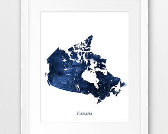 Canada Map Print, Canada Watercolor Print, Canada Wall Art, Watercolor Map Canada Navy Blue White, Home Decor, Travel Poster, Printable Art