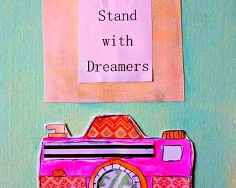 """Professeur cadeau appareil photo 8.5 """"x 11"""" Wonder plat toile originale Stand avec les rêveurs Inspiration peinture mixte turquoise Orange navire gratuit"""
