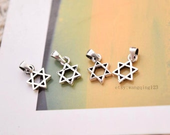 4 pcs star of david charms pendants in oxidized sterling silver, LX1