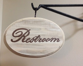 Adorable Restroom sign (cream) (5x7)