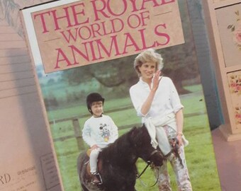The Royal World Of Animals by Beatrice Cayzer, vintage book, hardback, collectible, gift, British royal family, royal pets, England's royals